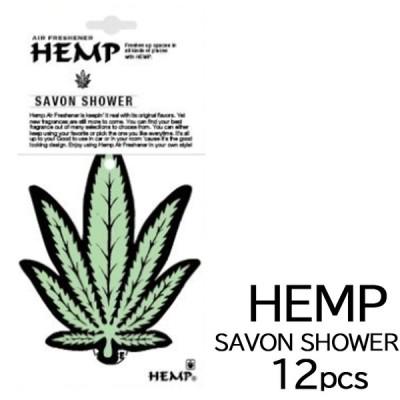 HEMP ヘンプ サボンシャワー 吊り下げタイプ 12枚セット エア フレッシュナー 車 芳香剤 部屋 トイレ ペーパー アロマ 雑貨 ユニセックス SAVON SHOWER