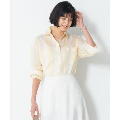 L size ONWARD(大きいサイズ)/エルサイズオンワード 【洗える】シルクコットンストライプチュニックシャツ イエローストライプ 46