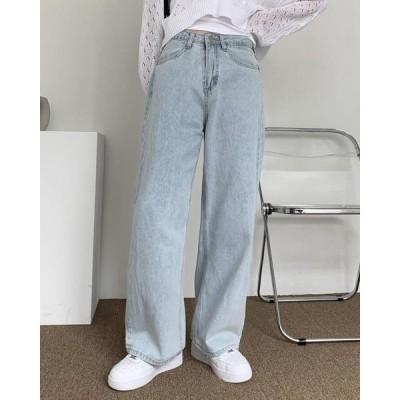 wonderwonder レディース ジーンズ Lithon Light Blue wide denim pants