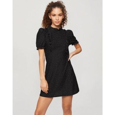 ミスセルフフリッジ レディース ワンピース トップス Miss Selfridge ruffle collar poplin mini dress in black mini dots Black