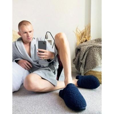 エイソス メンズ サンダル シューズ ASOS Unrvlld Supply slip on tech slippers in navy teddy on black sole