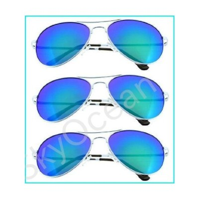 Fiore Aviator Sunglasses Classic Look 3-Pack Revo Green Lens and Silver Frame w/Spring Hinges【並行輸入品】