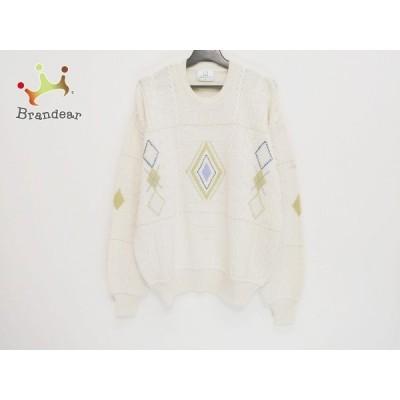 ダンヒル 長袖セーター サイズM メンズ - アイボリー×ライトブルー×ライトグリーン 新着 20201215