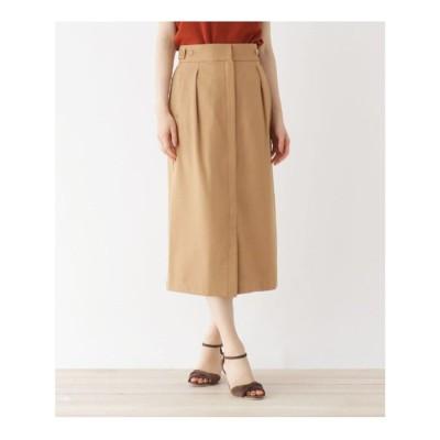オペーク ドット クリップ OPAQUE.CLIP Reflax Linonツイル ボタンデザインナロースカート【WEB限定サイズ】 (ベージュ)