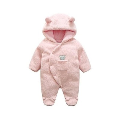 KIDDAD Newborn Baby Footed Romper Suit Cotton Coveralls (ピンク 0-3 Months)