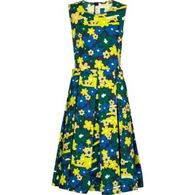 マルニ Marni レディース ワンピース ミドル丈 ワンピース・ドレス Floral cotton midi dress Jade