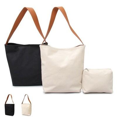 ショルダーバッグ トートバッグ バッグ キャンバス 大容量 軽量 カジュアル ポーチ付き 2点セット 肩掛け シンプル 小物 鞄 レディース