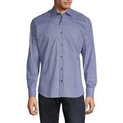 ベルティゴ メンズ カジュアル ボタンダウンシャツ Printed Cotton Button-Down Shirt