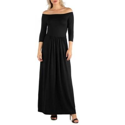 24セブンコンフォート レディース ワンピース トップス Women's Off Shoulder Pleated Waist Maxi Dress