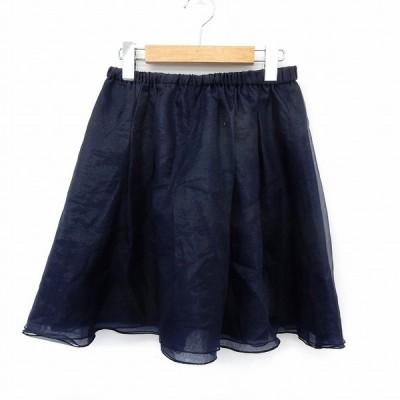【中古】ダブルスタンダードクロージング ダブスタ DOUBLE STANDARD CLOTHING スカート ミニ フレア チュール ウエストゴム F ネイビー 紺  【ベクトル 古着】