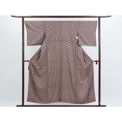リサイクル着物 小紋 正絹茶色地袷小紋着物