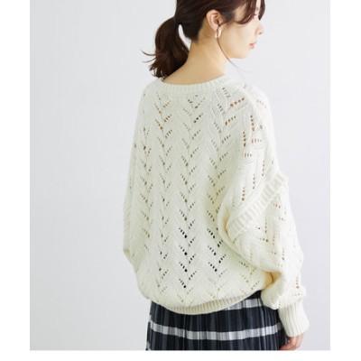 【一部店舗限定】透かし編みローゲージニットプルオーバー