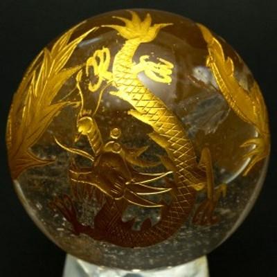 【天然石 彫刻置物】丸玉 水晶 約50mm (金彫り) 風水四神獣 ※ネコポス不可※ パワーストーン