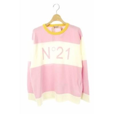 【中古】 N°21 19AW ウールロゴニット セーター 長袖 プルオーバー クルーネック 38 ピンク 白 レディース