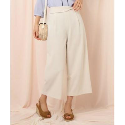 Couture Brooch/クチュールブローチ 【洗える】ウエストリボンデザインワイドパンツ アイボリー(004) 40(L)