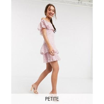 リトルミストレス ミディドレス レディース Little Mistress Petite lace ruffle mini dress in blush エイソス ASOS