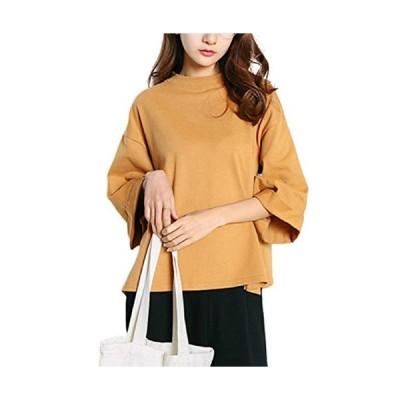 [マユヒナ]レディース トップス 半袖 ゆったり Tシャツ カットソー 大きい サイズ チュニック 体型 カバー 着やせ 着痩せ カジュアル スウェッ