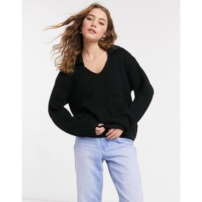 エイソス レディース ニット&セーター アウター ASOS DESIGN v neck sweater with collar in black Black