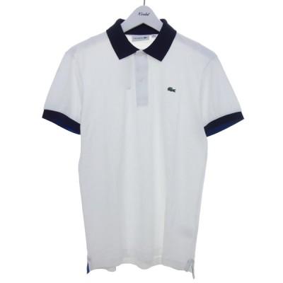LACOSTE ポロシャツ ホワイト×ネイビー サイズ:XS (京都店) 200823