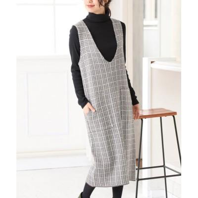 共布ベルト付チェック柄ニットジャンパースカート (ワンピース)Dress
