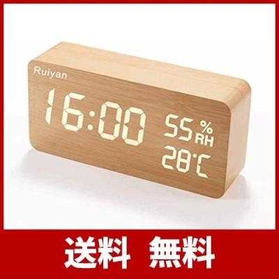 2021最新デザイン 目覚まし時計 置き時計 木目 LEDデジタル時計 アラームクロック 温度湿度計 カレンダー 音声感知 USB/乾電池給電