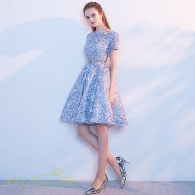 ドレス 結婚式 ワンピース フォーマルワンピース パーティードレス きれいめ 着痩せ 膝上丈 ラウンドネック 人気 お呼ばれ 服装 フォーマルドレス ファッション