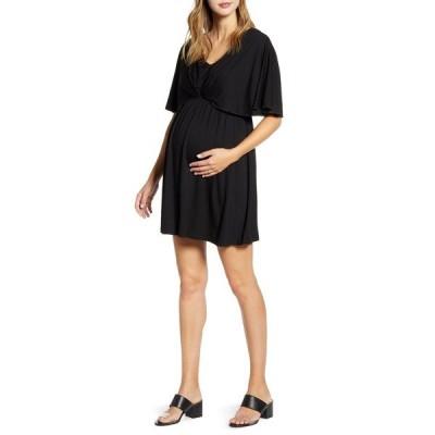 マターナルアメリカ ワンピース トップス レディース Cape Sleeve Maternity Dress Black