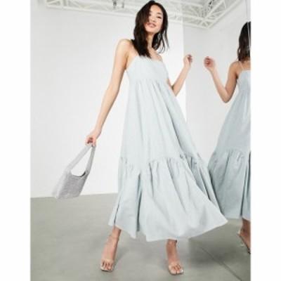 エイソス ASOS EDITION レディース ワンピース キャミワンピ Aライン Linen Tiered Cami Dress With Scallop Hem In Ice Blue アイスブ