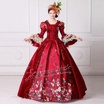 レッドドレス オペラ声楽 中世貴族風豪華お姫様ドレス ウェディングドレス ステージ衣装 プリンセスライン 演劇 ドレス 宮廷服ドレス ティアラ