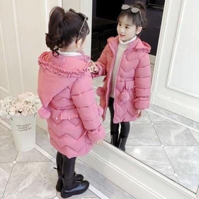中綿コート キッズ 子供服 女の子 冬服 子供コート アウター 厚手 ダウン風コート キッズコート ロングコート 中綿ジャケット フード付き おしやれ 暖かい 防寒