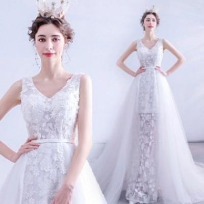 ウェディングドレス Vネック ノースリーブ トレーン ホワイトドレス 結婚式 花嫁 ブライダルドレス Aライン 優雅 エレガント 披露宴 二次
