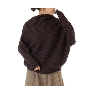 [ハッピー ホヌ] リブ ボーダー プルオーバー セーター ニット 大きいサイズ M 〜 5L レディース (ブラウン LL-3L)