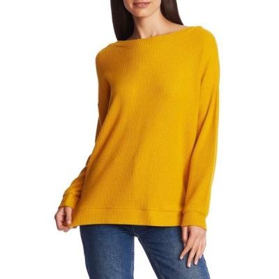 ワンステイト レディース Tシャツ トップス Lattice V-Back Waffle Weave Sweater HONEY POT