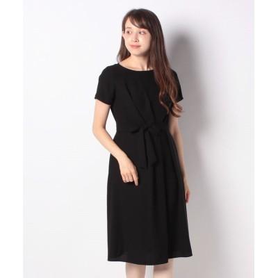 【ニューヨーカー】 Summer Black Dress/バックサテンジョーゼット アシンメトリータックドレス レディース ブラック 11 NEWYORKER