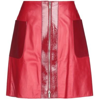 ブルマリン BLUMARINE ひざ丈スカート レッド 42 羊革(ラムスキン) ひざ丈スカート