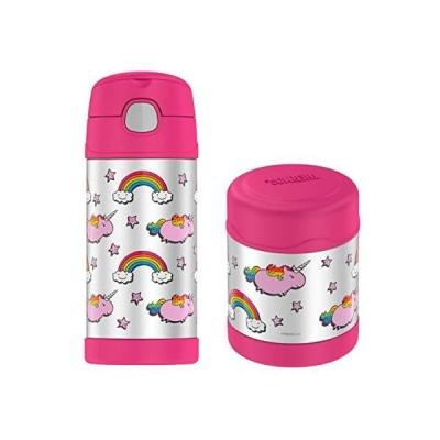 Thermos Funtainer 10 Oz Food Jar & 12 Oz Insulated Beverage Bottle Fat Unicorn Bundle【並行輸入品】