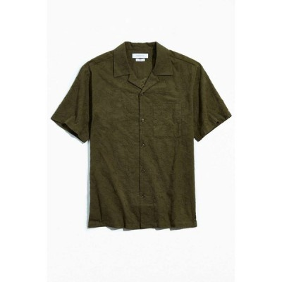 アーバンアウトフィッターズ Urban Outfitters メンズ 半袖シャツ トップス uo embroidered paisley short sleeve button-down shirt Olive