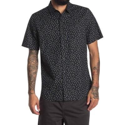 アボンド メンズ シャツ トップス Mini Floral Print Regular Fit Shirt BLACK SCATTERED MARKS