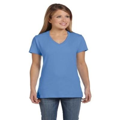 レディース 衣類 トップス Hanes Women's Nano-T V-Neck T-Shirt Style S04V Tシャツ