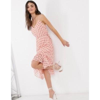 エイソス レディース ワンピース トップス ASOS DESIGN pleated v neck midi dress with drawstring waist in pink and red polka Pink/r