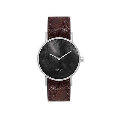 特別価格South Lane ステンレススチール スイス製クオーツ腕時計 レザーカーフスキンストラップ ブラック 20 (モデル:AW18-91)好評販売中