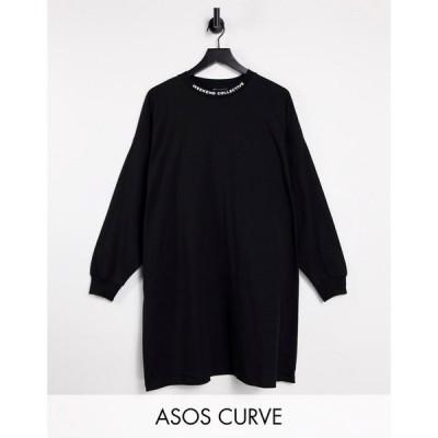 エイソス ASOS Weekend Collective レディース ワンピース Tシャツワンピース Curve Oversized Long Sleeve T-Shirt Dress With High Neck In Black ブラック