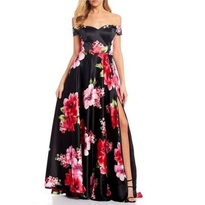 ビーダーリン レディース ワンピース トップス Off-The-Shoulder Floral Print Satin Long Dress
