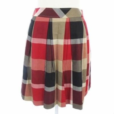 【中古】ブルーレーベルクレストブリッジ スカート ひざ丈 ボックス プリーツ チェック柄 赤 黒 36 ■SM レディース
