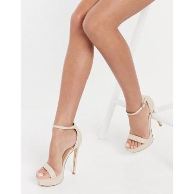 トリュフコレクション Truffle Collection レディース サンダル・ミュール シューズ・靴 platform barely there heeled sandals in beige ベージュ