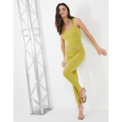 エイソス レディース ワンピース トップス ASOS DESIGN square neck chain belt jumpsuit with leg slit Chartreuse