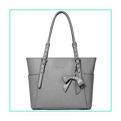 【新品】BOSTANTEN Women Leather Handbag Designer Tote Shoulder Work Purses Grey(並行輸入品)
