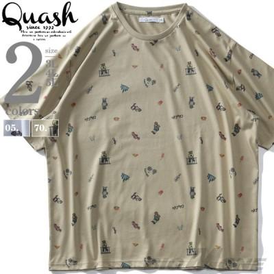 大きいサイズ メンズ QUASH アッシュ 総柄 半袖 Tシャツ ap87121s