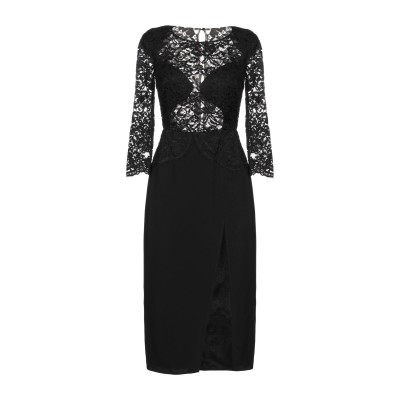 ELISABETTA FRANCHI 7分丈ワンピース・ドレス ブラック 38 レーヨン 96% / ポリウレタン 4% 7分丈ワンピース・ドレス