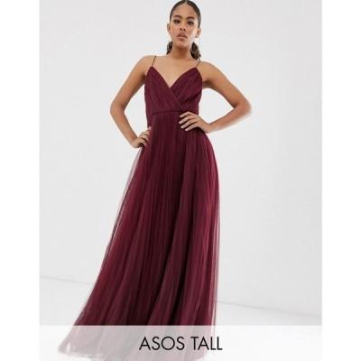 エイソス ASOS Tall レディース ワンピース キャミワンピ ワンピース・ドレス asos design tall cami pleated tulle maxi dress バーガンディ